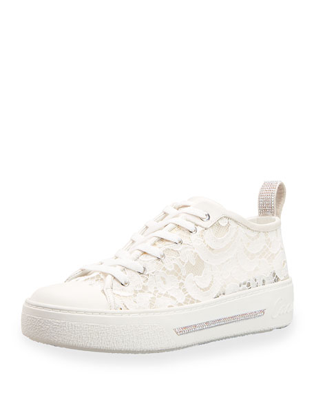 Rene Caovilla Lace Low-Top Sneakers