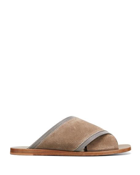 Brunello Cucinelli Suede Monili Crisscross Flat Slide Sandals
