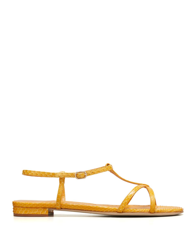 Raqui T-Strap Flat Python Sandals