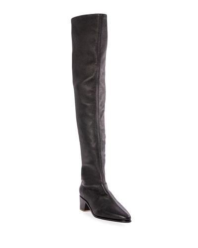 Black Stretch Boots   Neiman Marcus