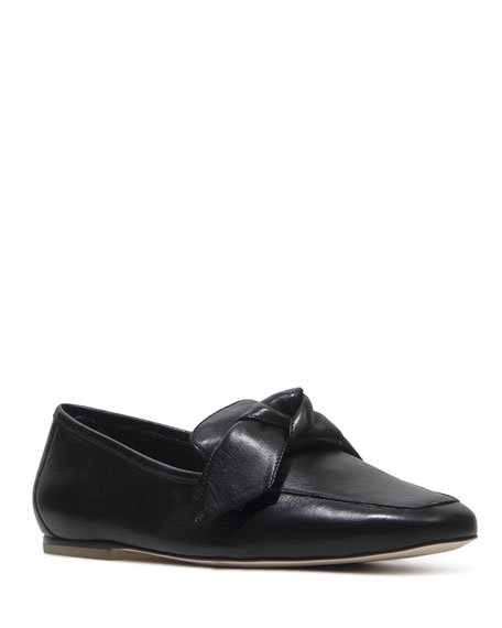 Black Suede Studio Lilly Leather Bow Loafers