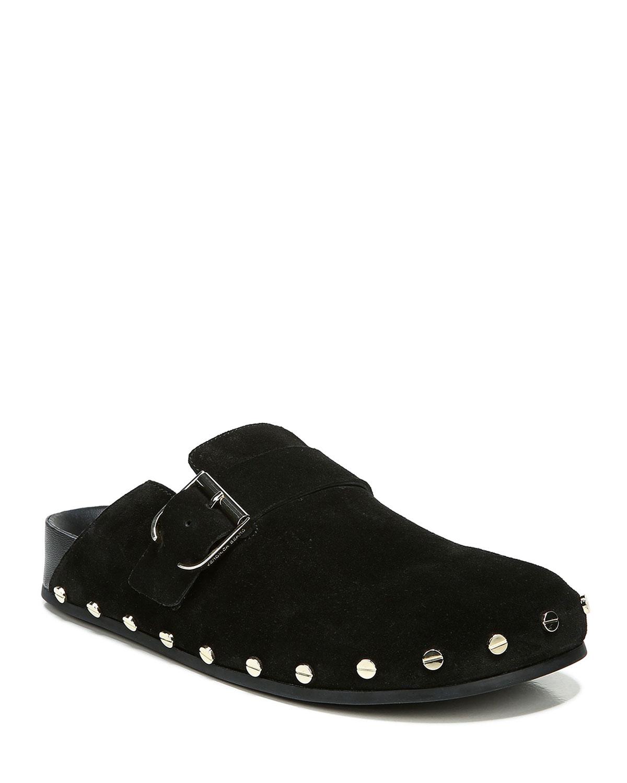 Veronica Beard Shoes FERN STUDDED SUEDE BUCKLE CLOGS