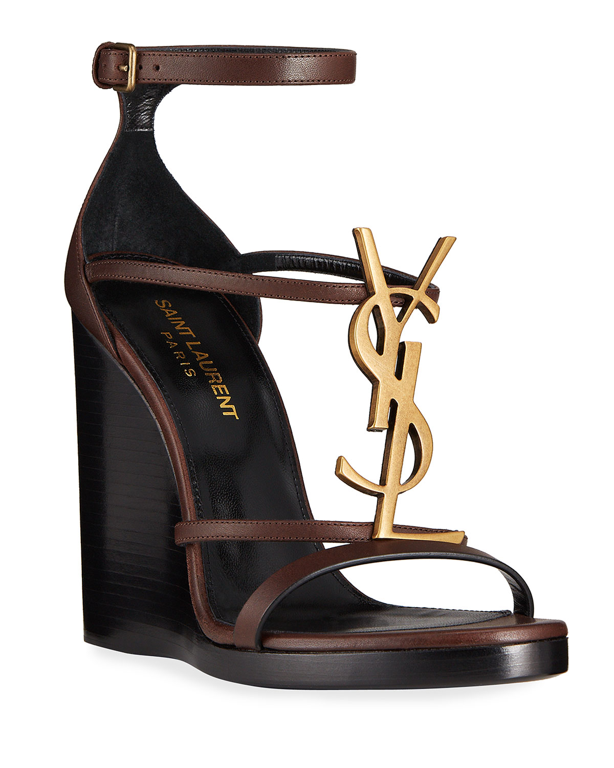 Saint Laurent Leathers CASSANDRA LEATHER YSL WEDGE SANDALS