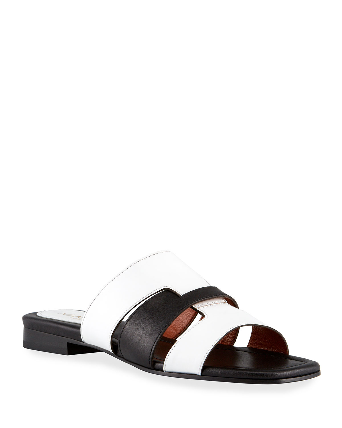 15mm Bicolor Woven Leather Flat Sandals