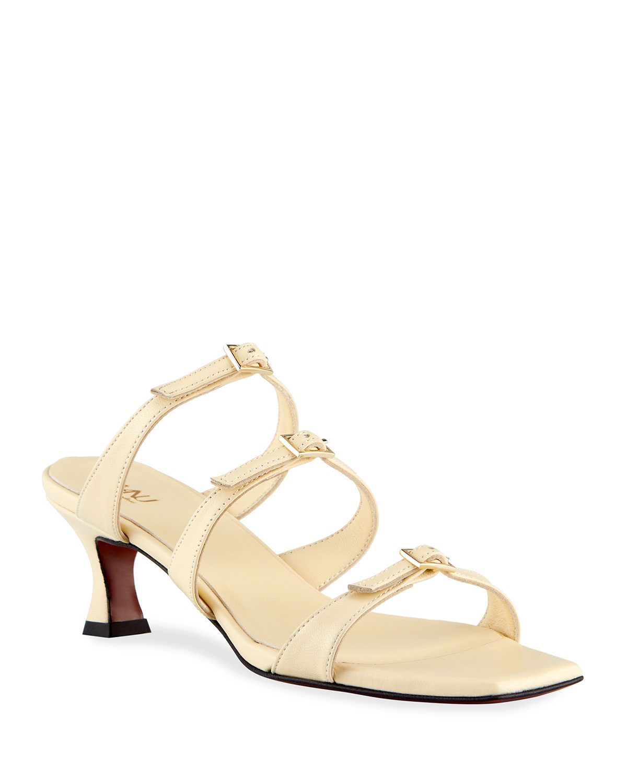 Naomi Caged Buckle Strap Slide Sandals