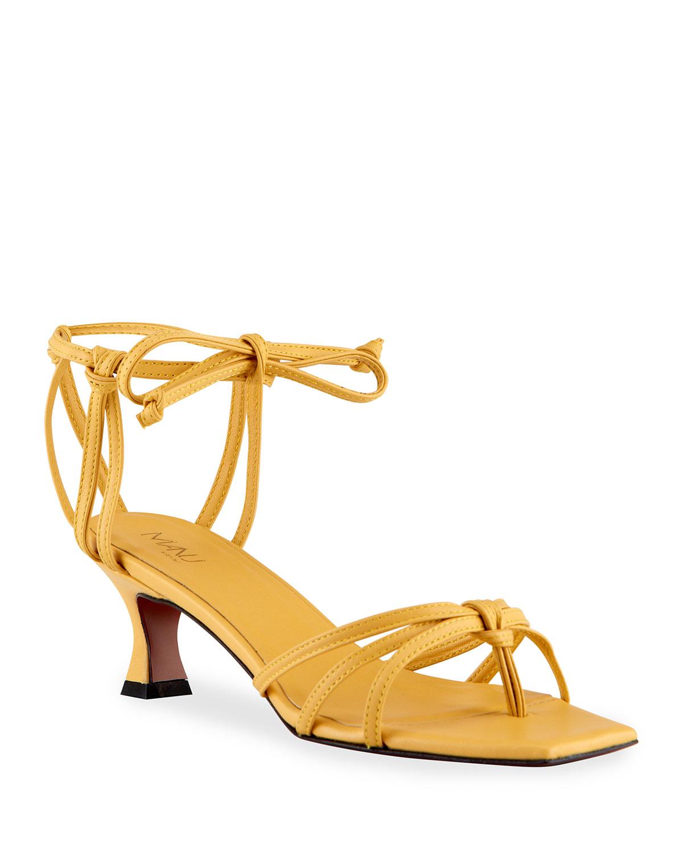50mm Calfskin Strappy Ankle-Tie Sandals
