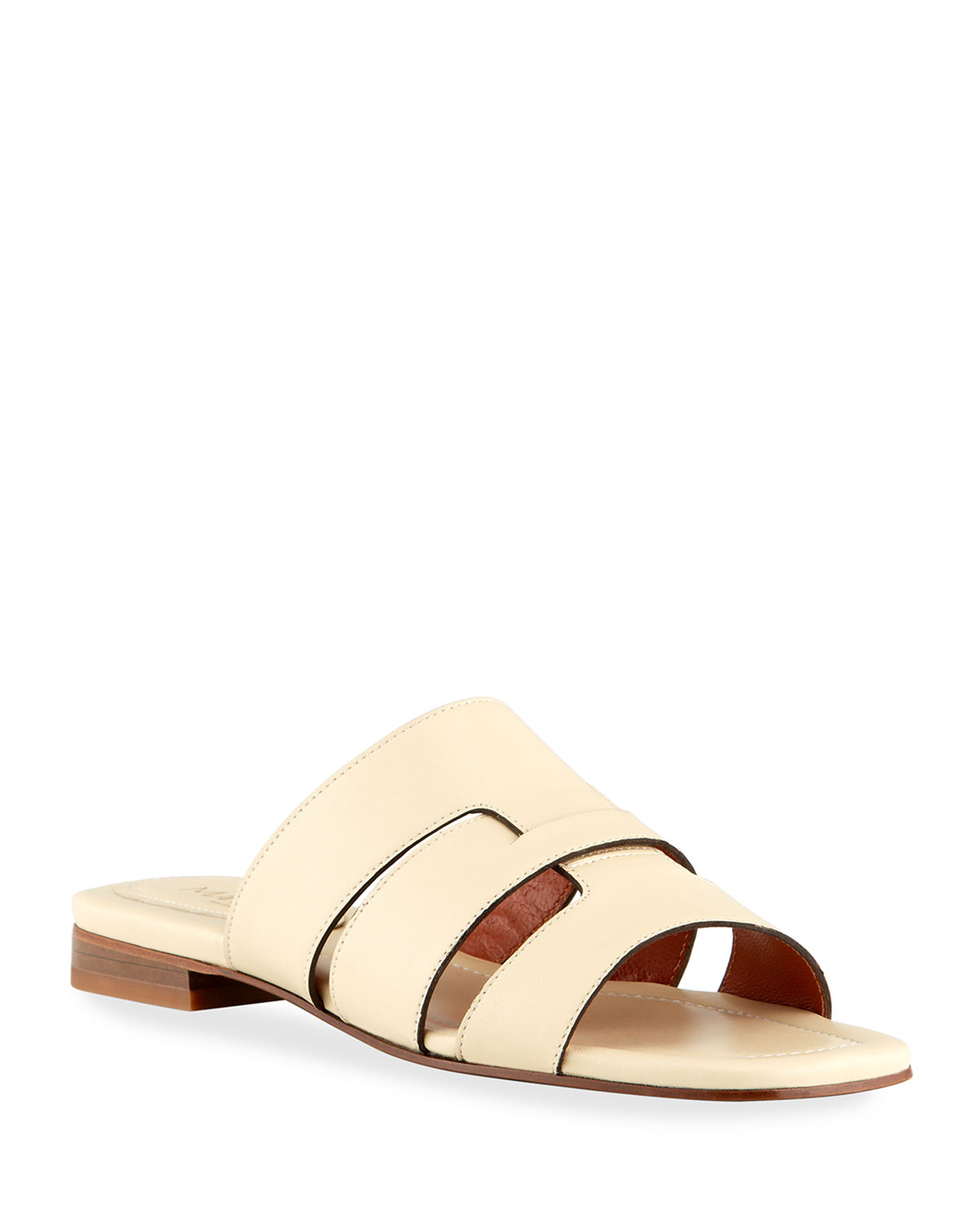 Woven Caged Leather Flat Sandals