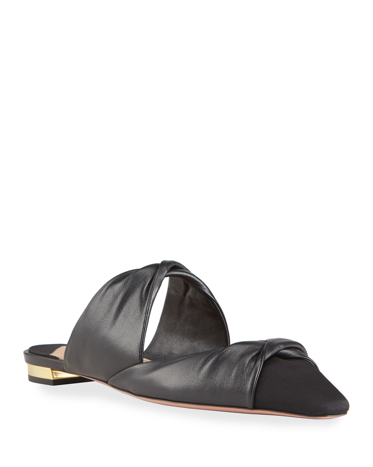 Leather Twist Pointed Flats