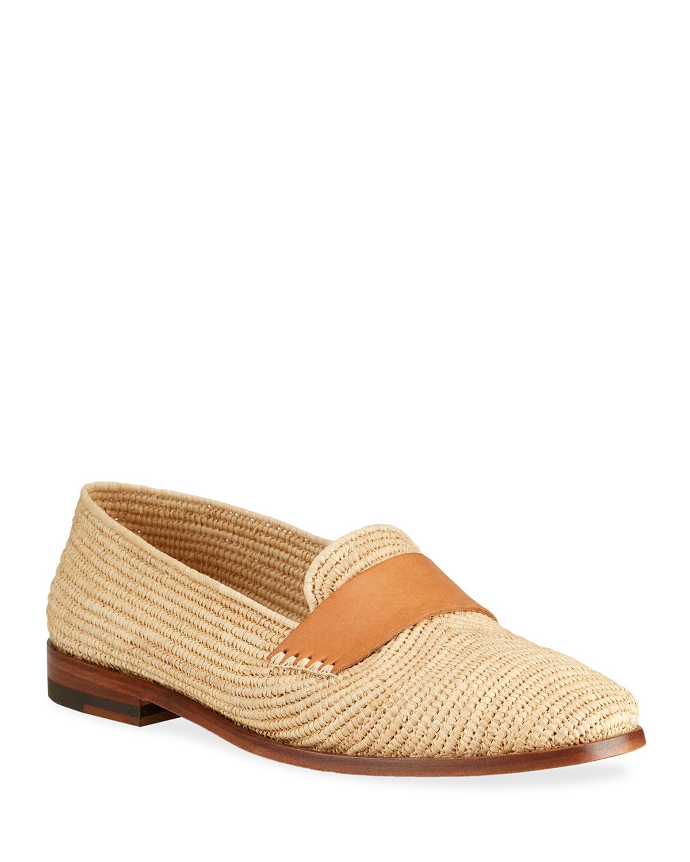 Zagora Raffia Flat Loafers