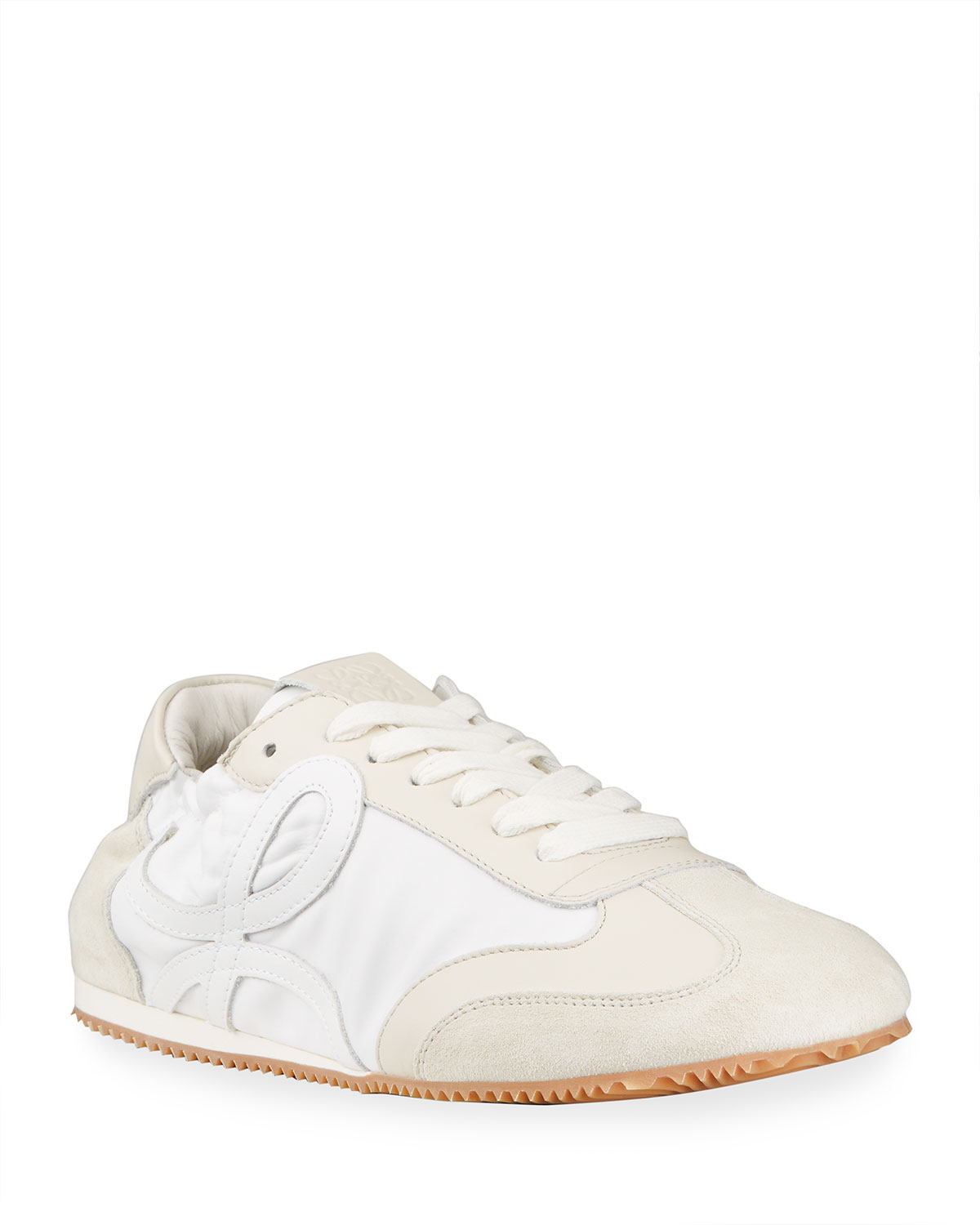 Loewe MIXED LEATHER BALLET RUNNER SNEAKERS, WHITE