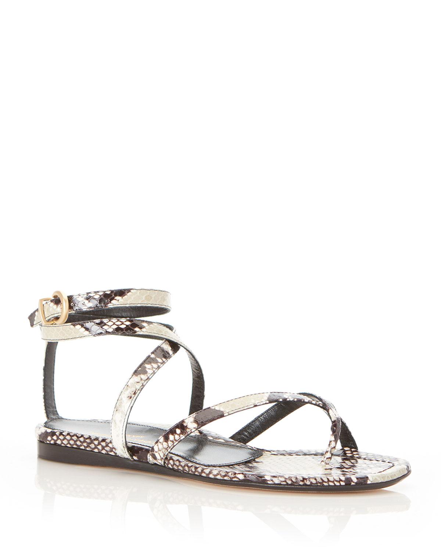 Harvey Python-Print Flat Sandals
