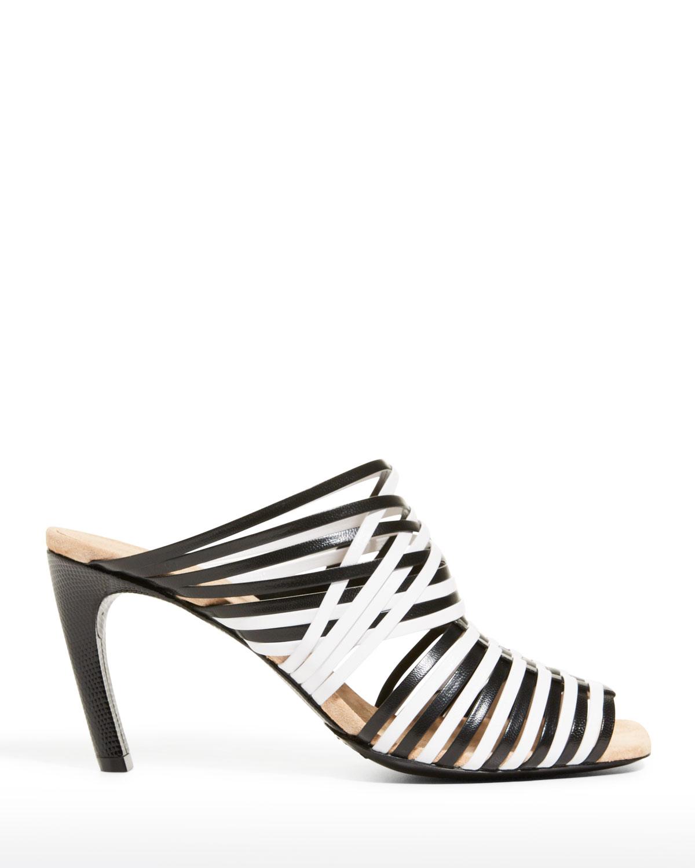 Bicolor Caged Slide Heel Sandals