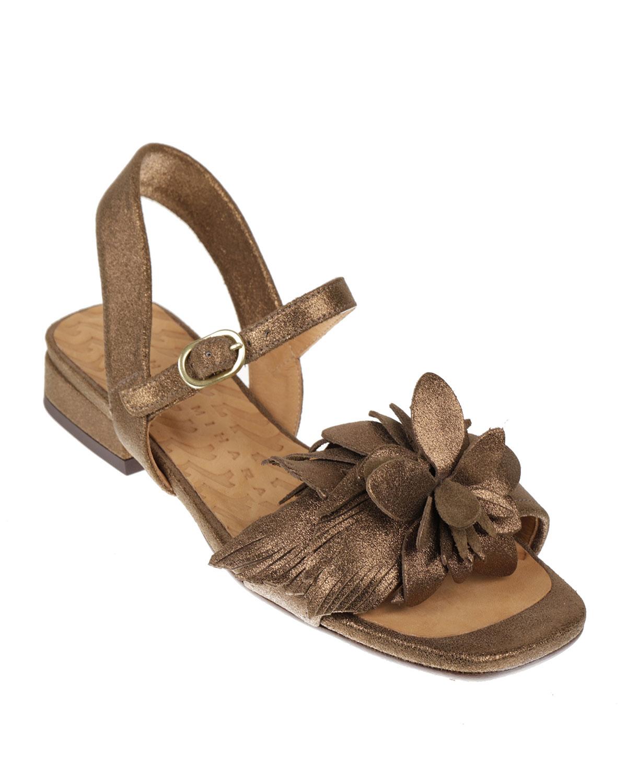 Tadul 3-D Flower Metallic Sandals