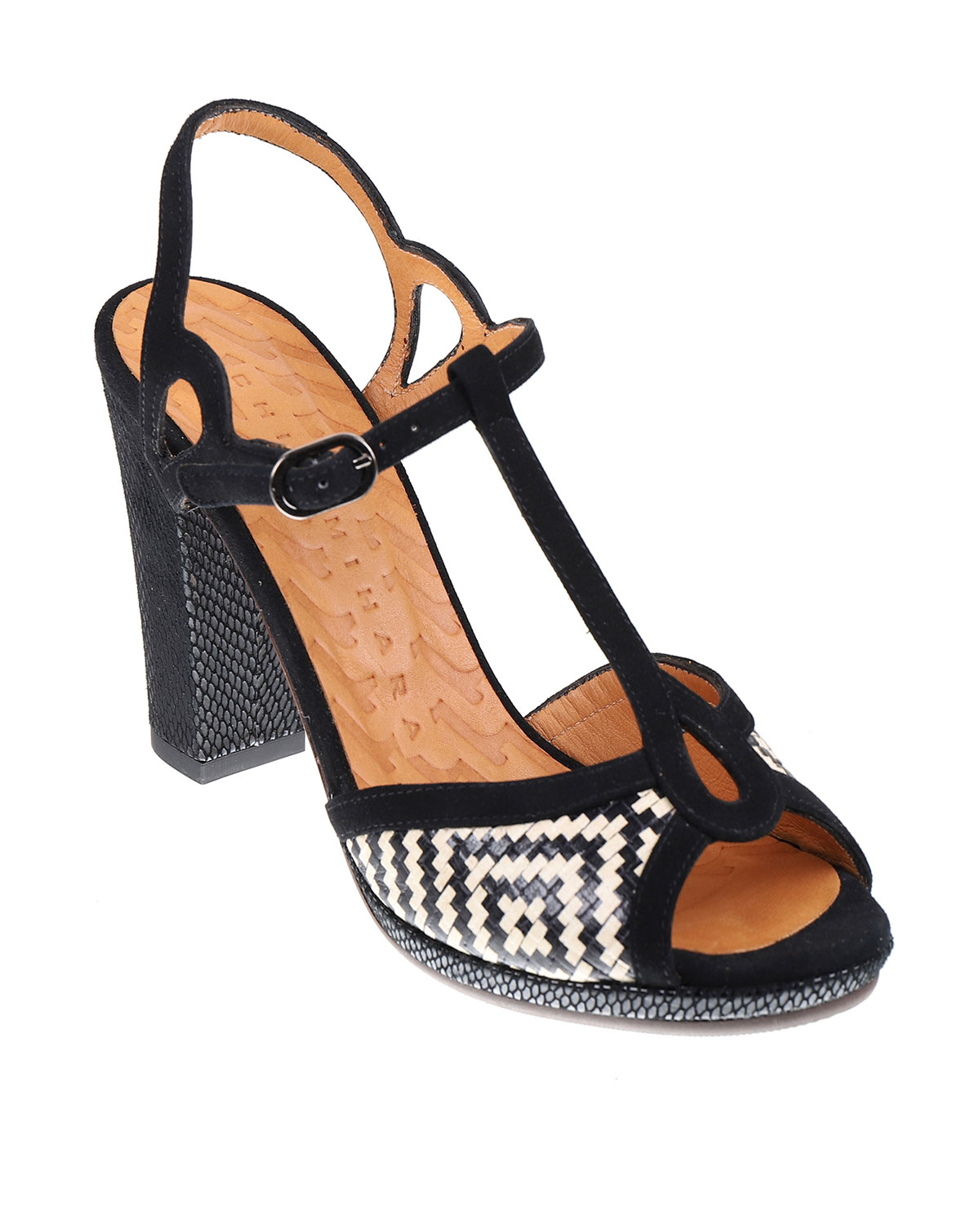 Chie Mihara ABAL MIXED LEATHER BLOCK-HEEL SANDALS