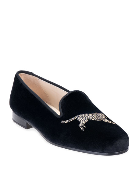 Stubbs and Wootton Cheetah Embroidered Velvet Slipper Loafers