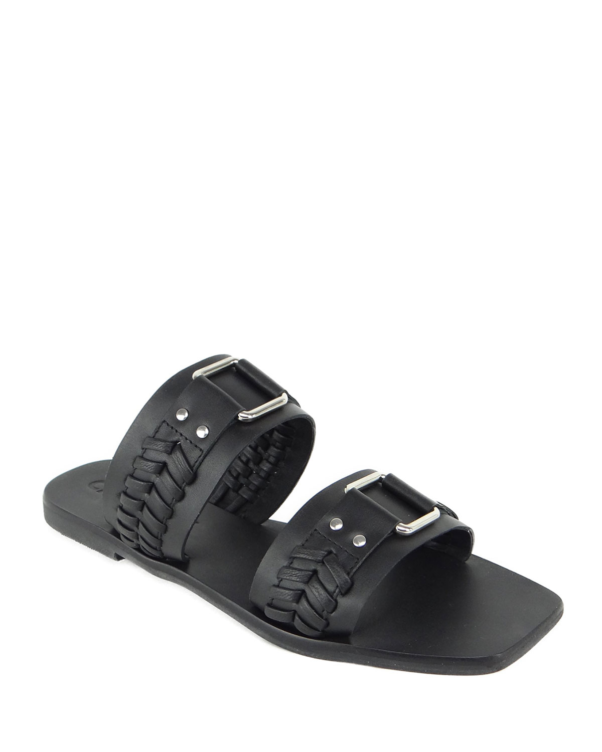 Tabby Braided Two-Band Slide Sandals