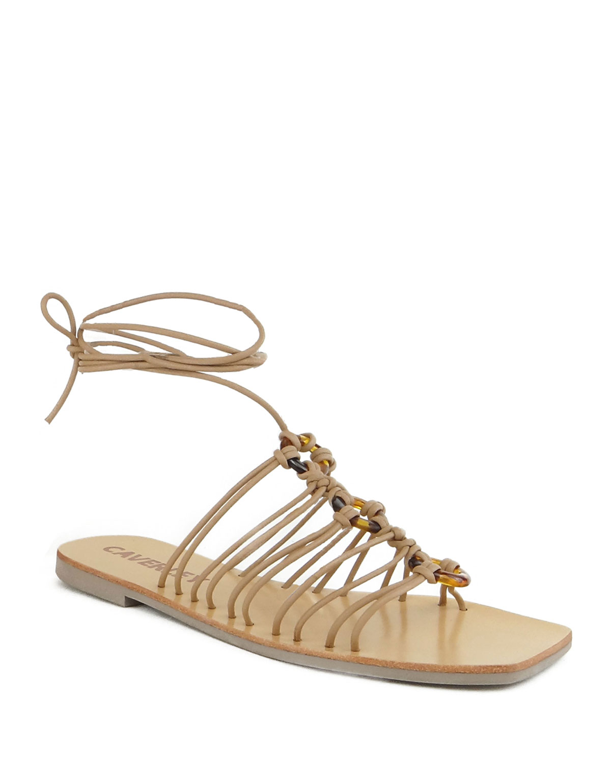 Ollie Tortoise Ring Caged Flat Sandals