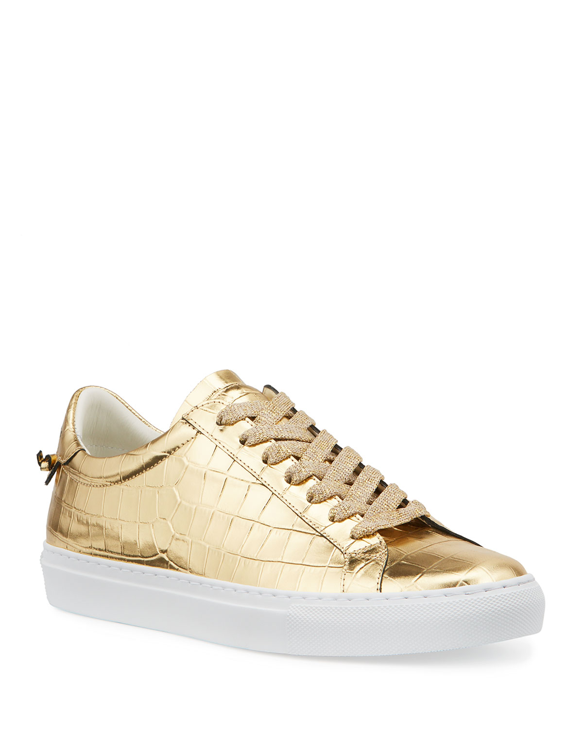 Givenchy Leathers URBAN STREET METALLIC MOC-CROC LOW-TOP SNEAKERS