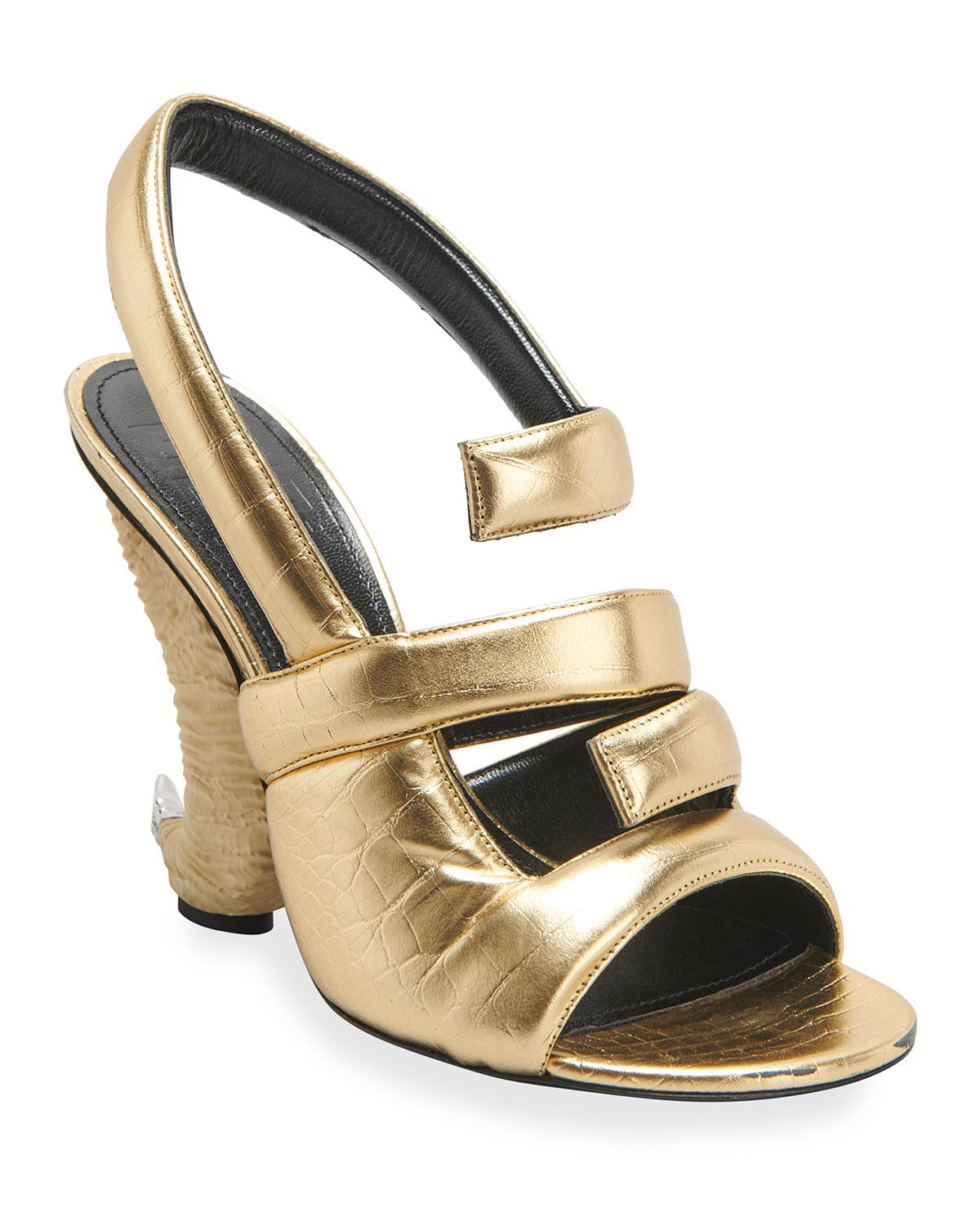 Givenchy Leathers SHOW HORN 4G METALLIC SLINGBACK SANDALS