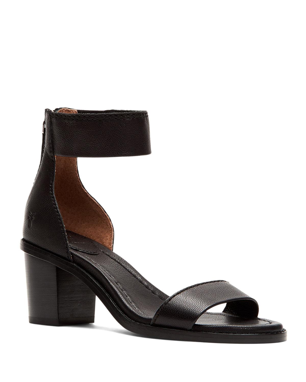 Brielle Leather Zip-Cuff Sandals