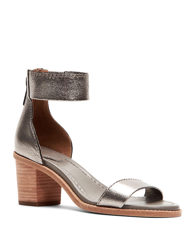 Brielle Metallic Zip-Cuff Sandals