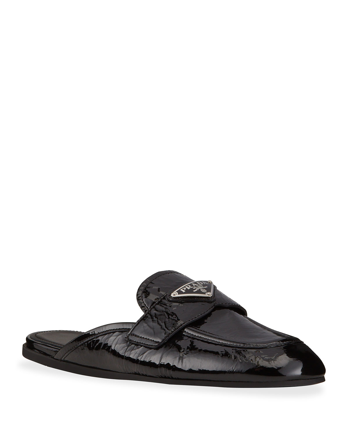 Prada PATENT LEATHER LOAFER MULES