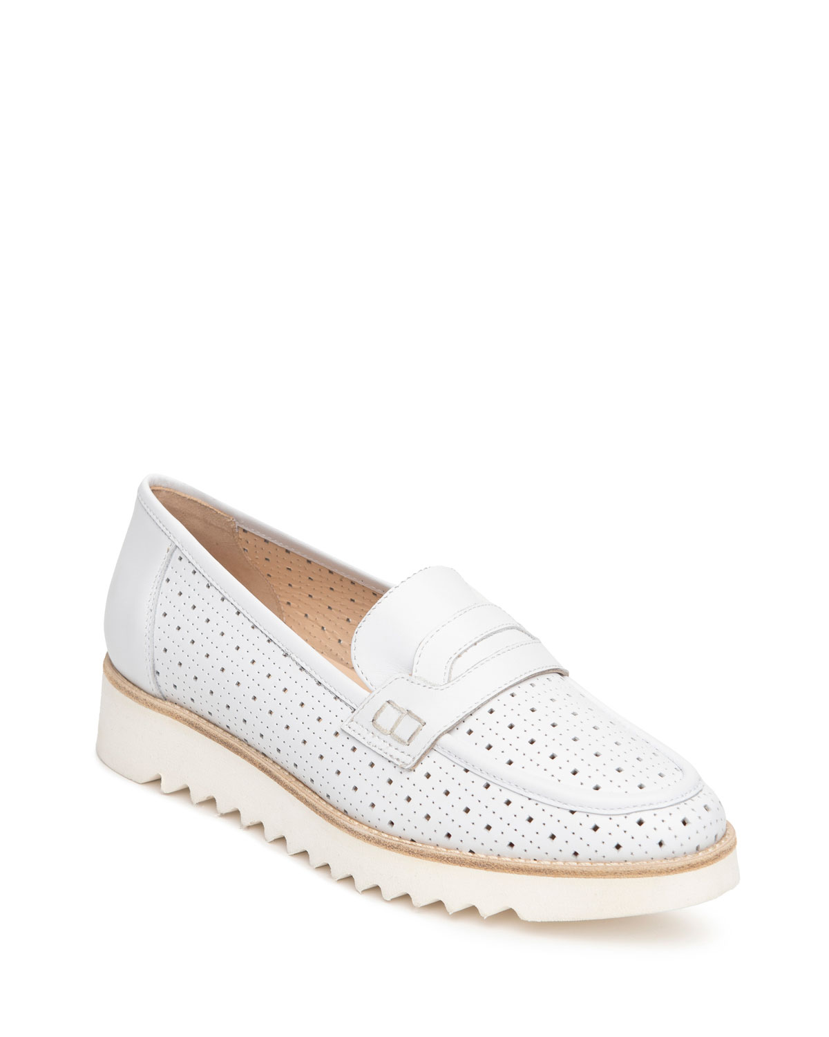 Perforated Flatform Penny Loafers