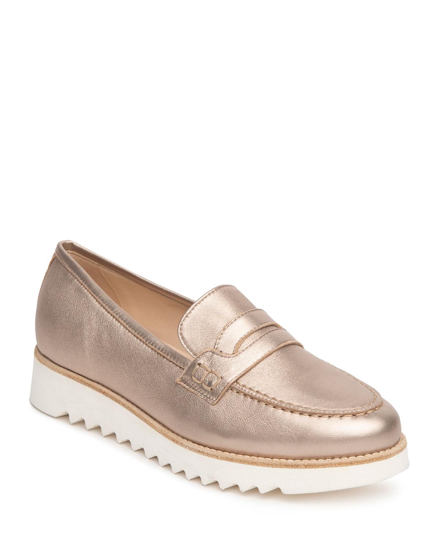 Metallic Flatform Penny Loafers