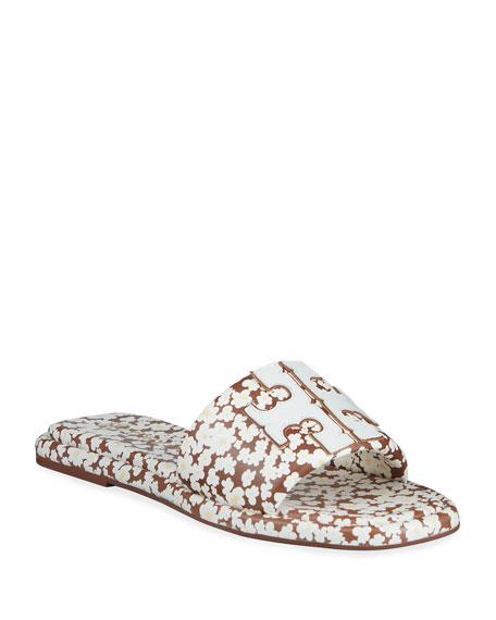 Tory Burch Double T Floral Medallion Slide Sandals