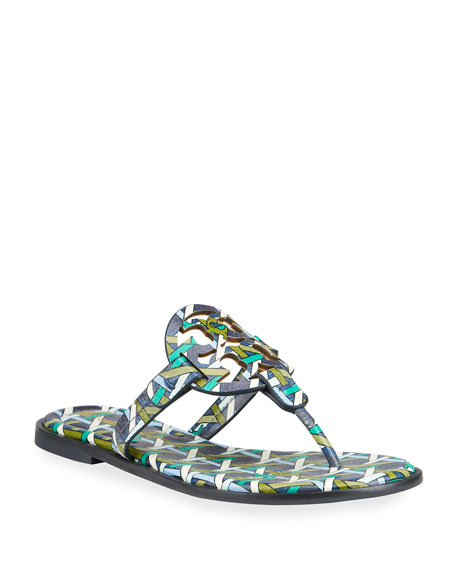 Tory Burch Miller Printed Leather Thong Sandals
