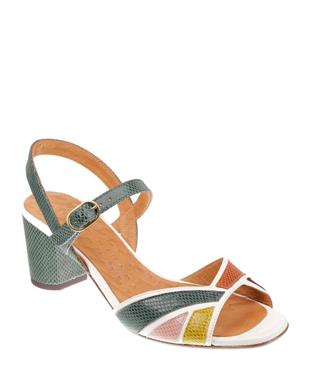 Hubris Multicolored Snake-Print Sandals