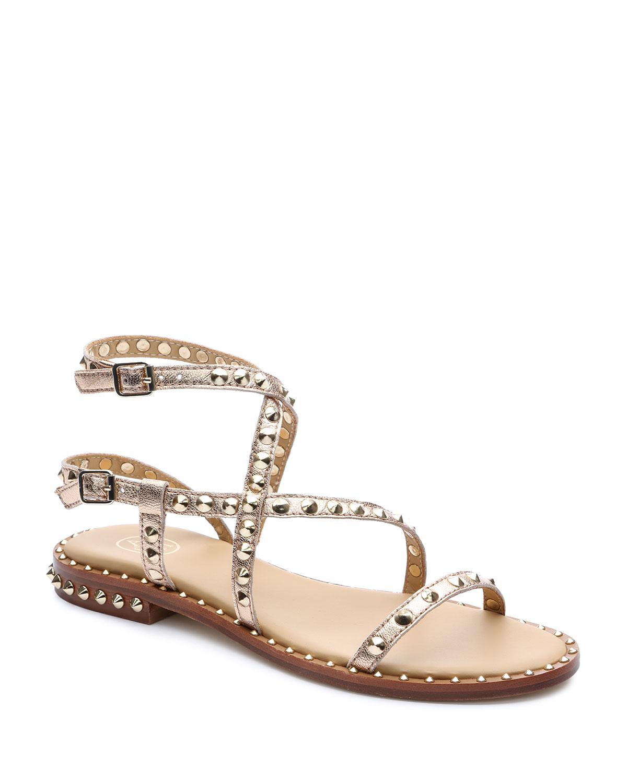 Petra Metallic Stud Flat Sandals