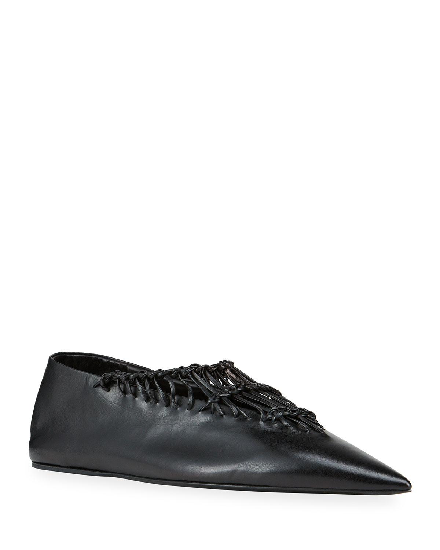 Jil Sander Shoes WOVEN LEATHER BALLERINA FLATS