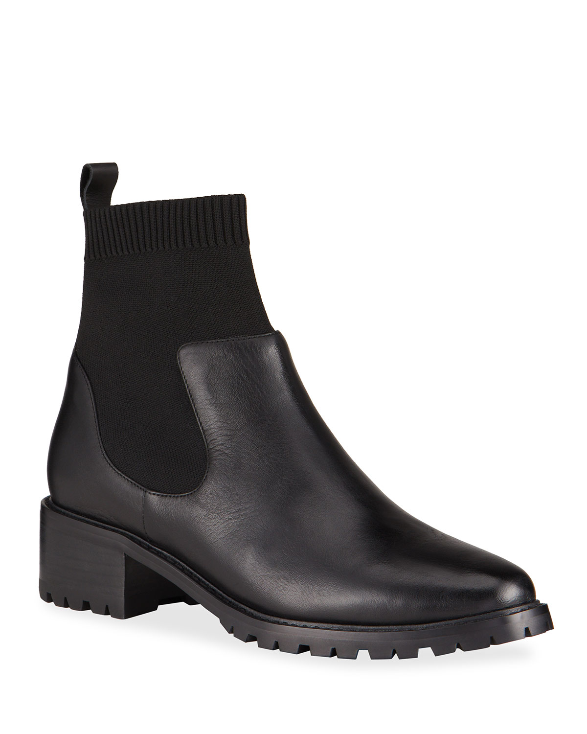 Kerry Knit Leather Ankle Booties