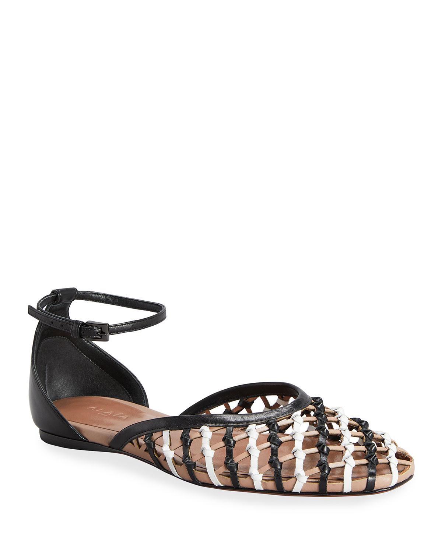 Alaïa Shoes NET LEATHER ANKLE-STRAP BALLERINA FLATS