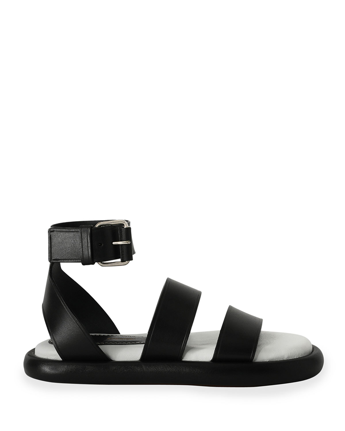 Proenza Schouler Sandals PIPE LEATHER ANKLE-STRAP FLAT SANDALS