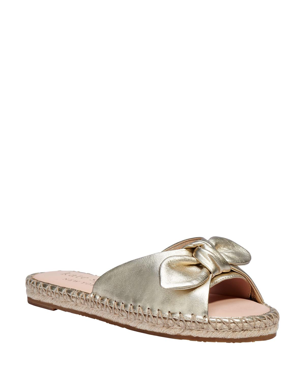 saltie shore metallic bow flat sandals
