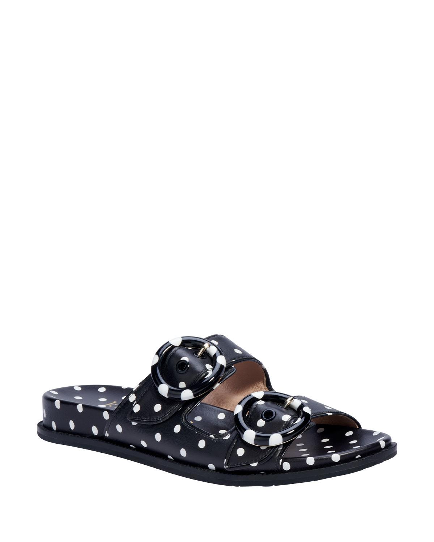 rhodes polka-dot buckle slide sandals