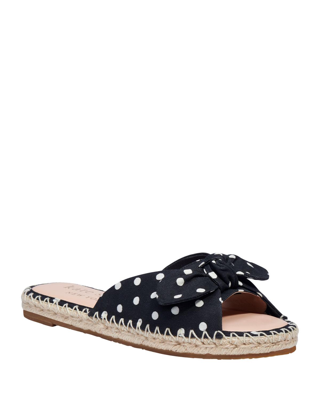 saltie shore bow polka-dot flat sandals