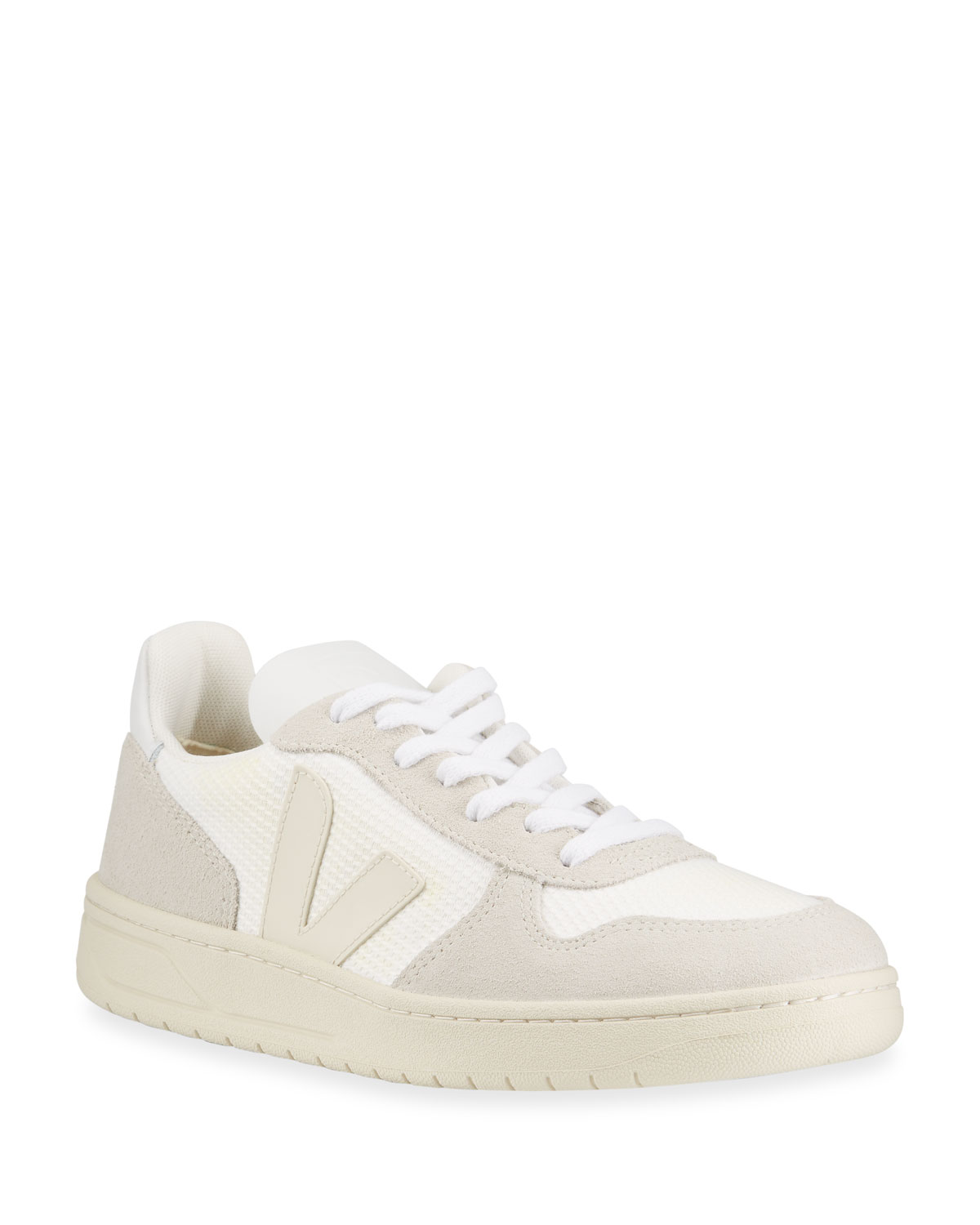 Veja V-10 MIXED LEATHER LOW-TOP COURT SNEAKERS