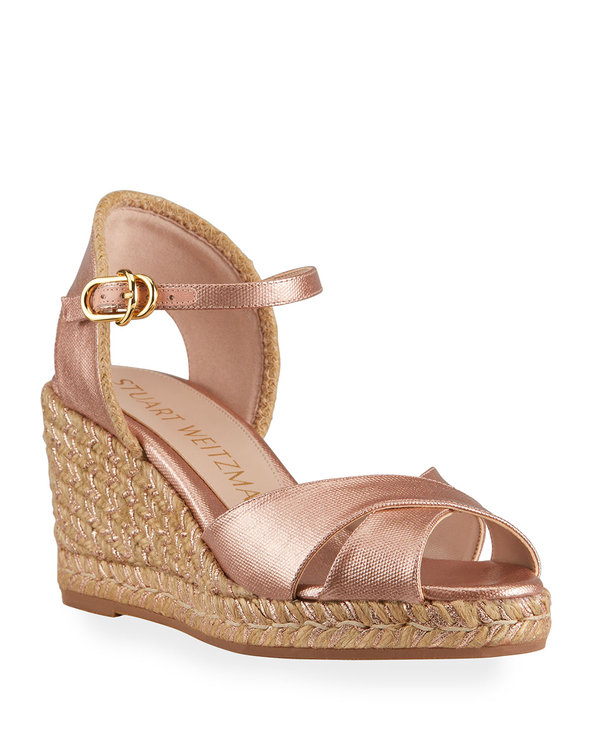 Stuart Weitzman MIRELA METALLIC CANVAS ESPADRILLE WEDGE SANDALS
