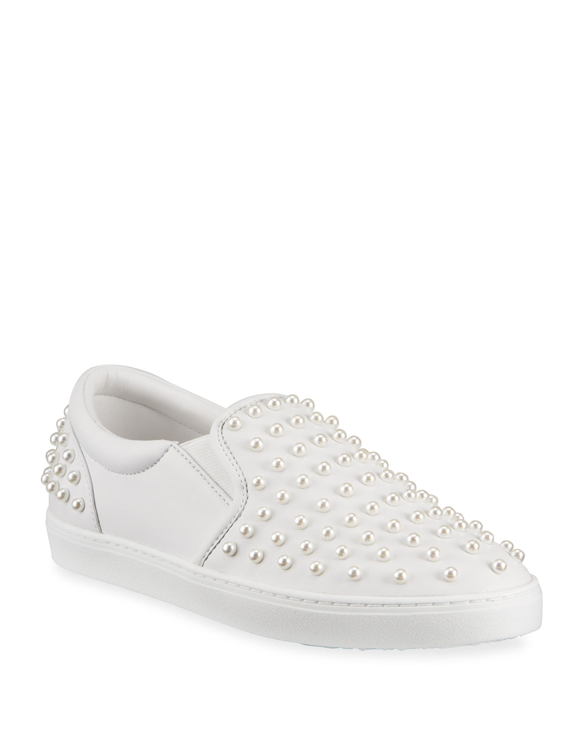 Stuart Weitzman Leathers GOLDIE PEARLY LEATHER SLIP-ON SNEAKERS