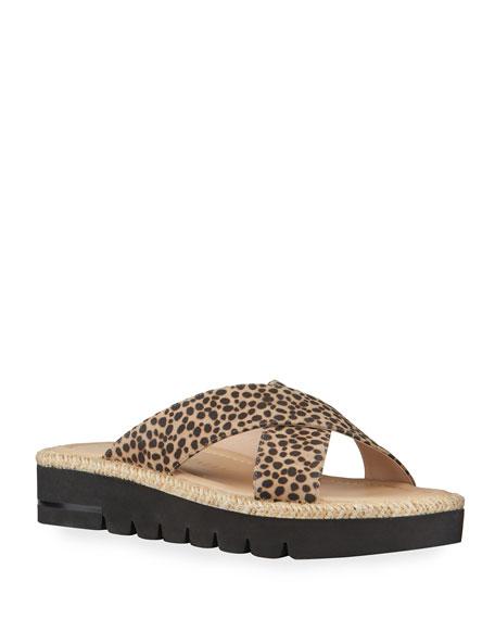 Stuart Weitzman Roza Animal-Print Crisscross Sandals