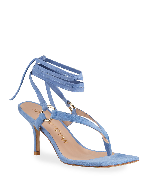 Stuart Weitzman High heels LALITA 75 HARNESS SUEDE ANKLE-TIE SANDALS
