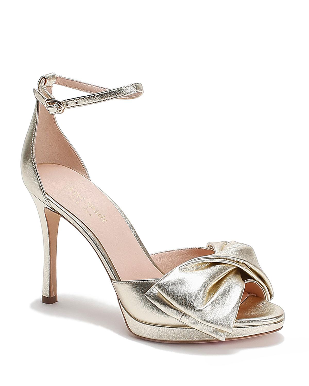 bridal metallic bow pumps