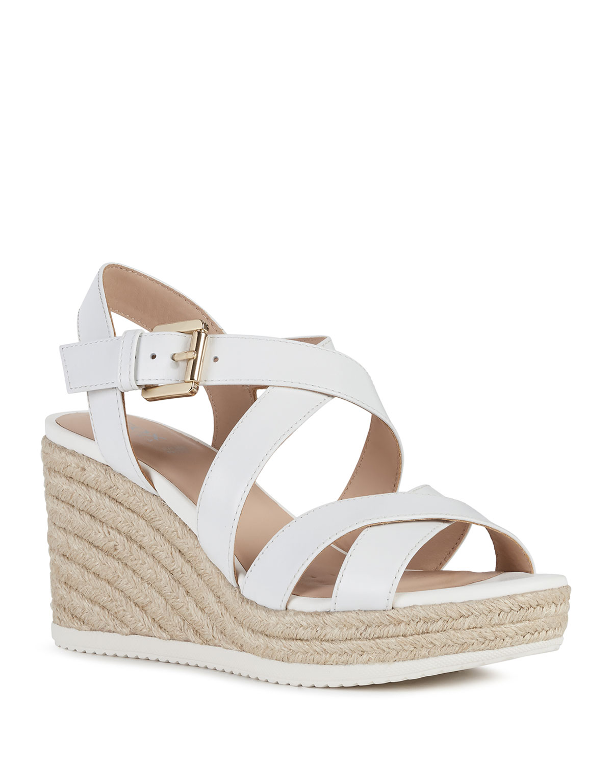 Geox CRISSCROSS LEATHER WEDGE ESPADRILLE SANDALS, WHITE