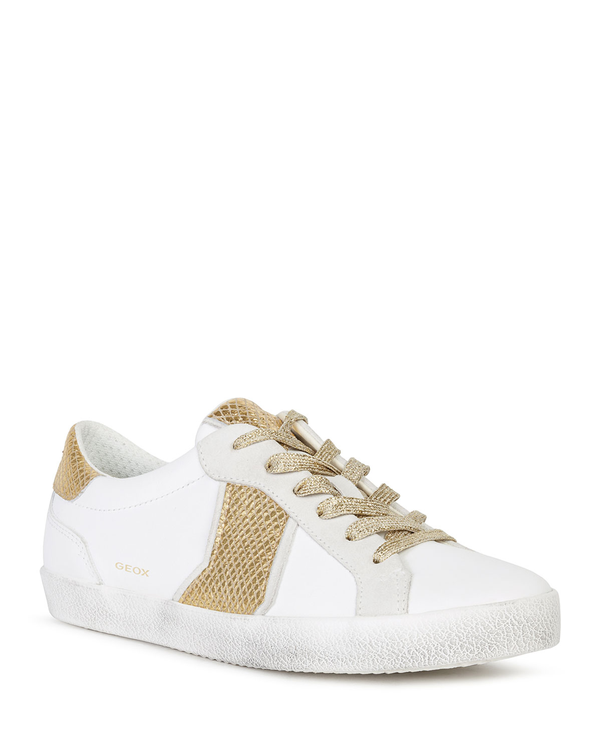 Geox WARLEY MIXED LEATHER LOW-TOP SNEAKERS