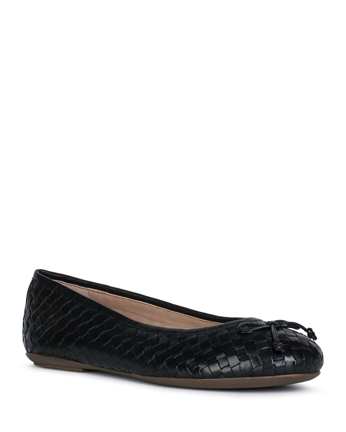Geox Leathers WOVEN LEATHER BOW BALLERINA FLATS