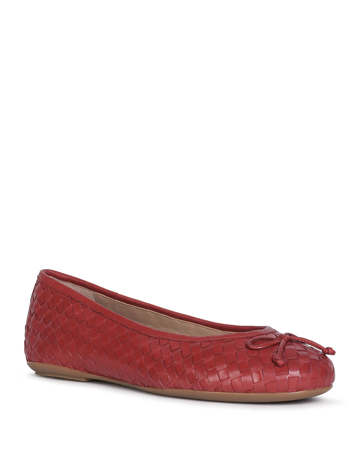 Geox WOVEN LEATHER BOW BALLERINA FLATS, RED