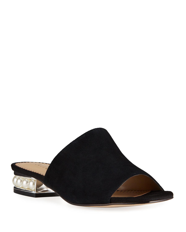 Suede Pearly-Heel Slide Sandals